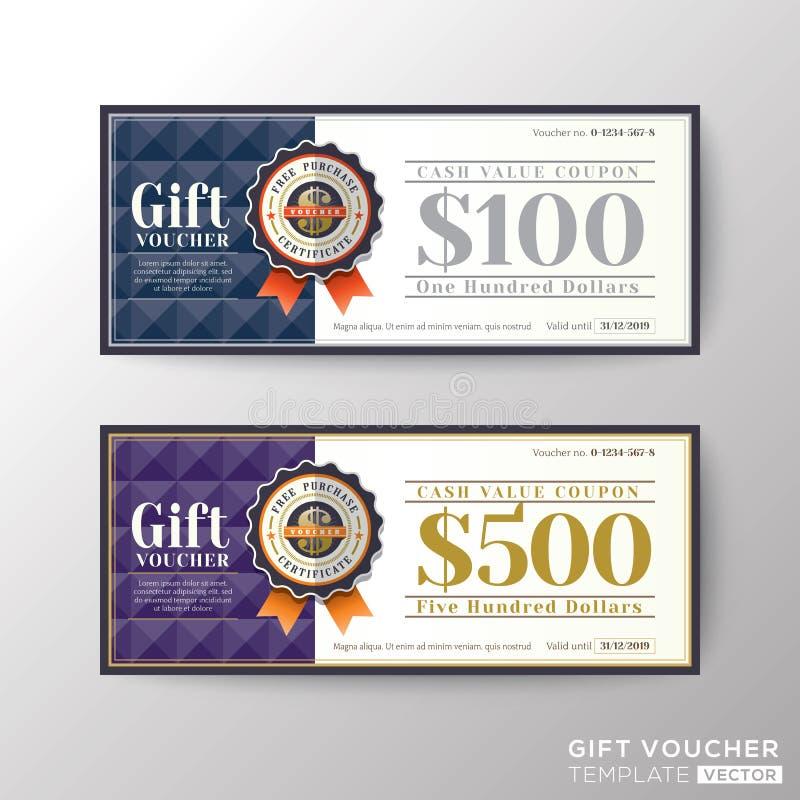 Calibre de carte de bon de bon de chèque-cadeaux illustration de vecteur