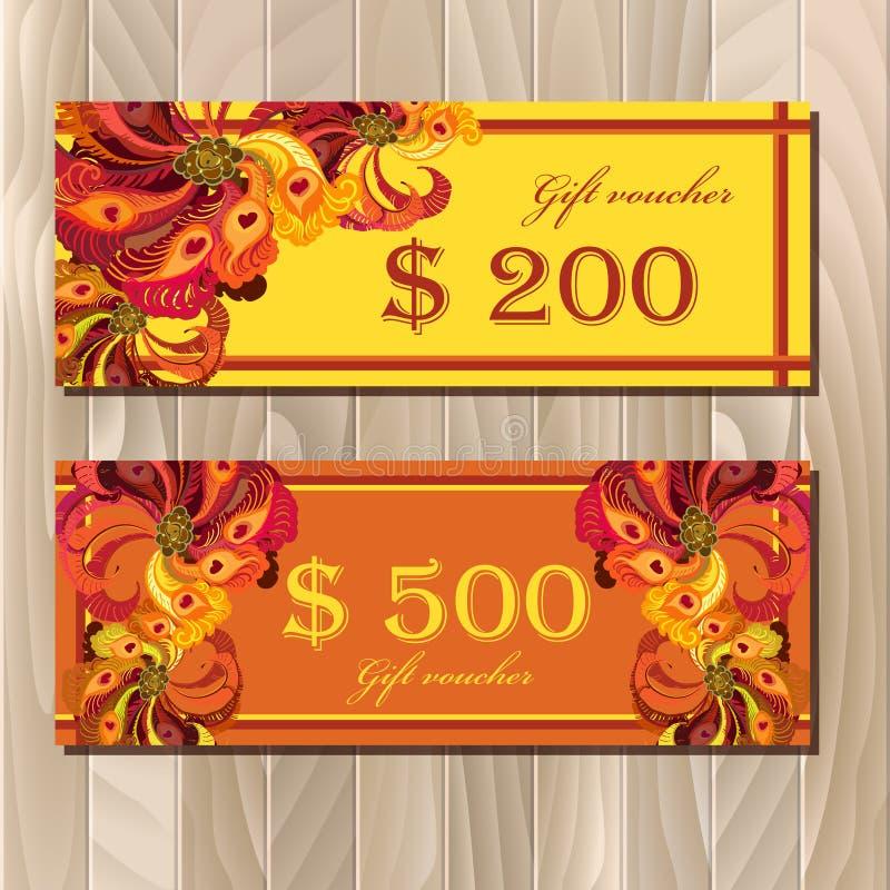 Calibre de carte de chèque-cadeaux avec la conception de plumes de paon illustration stock