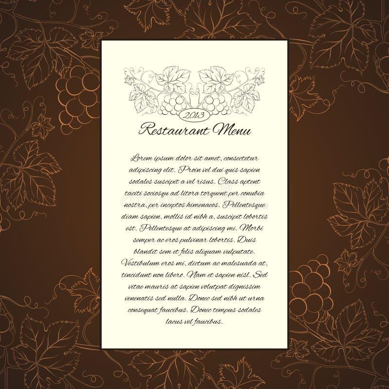 Calibre de carte de menu de vin. illustration stock