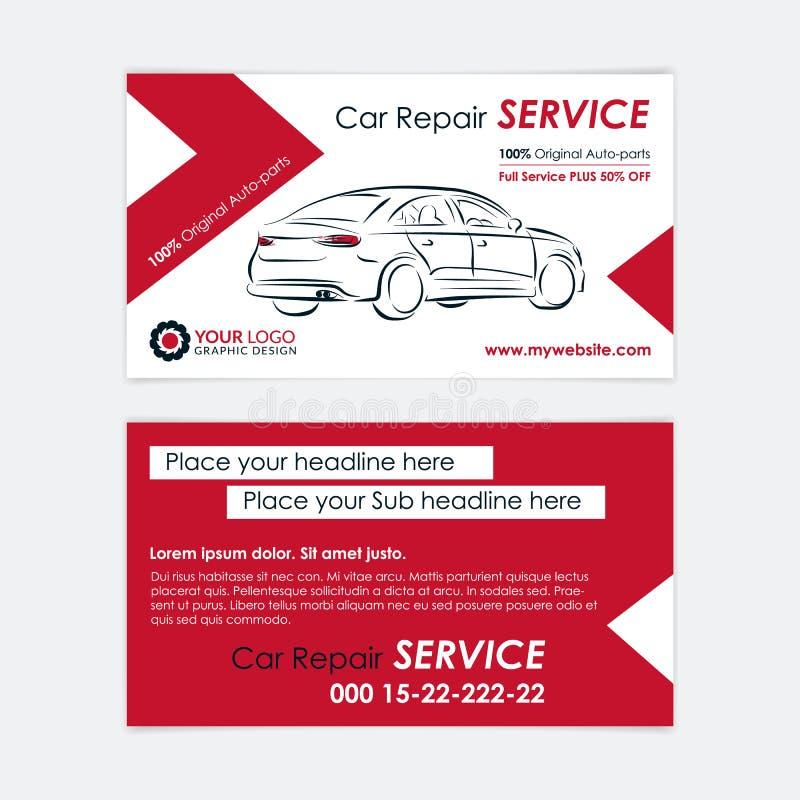 Calibre de carte de visite professionnelle de visite de réparation automatique Créez vos propres cartes de visite professionnelle illustration stock
