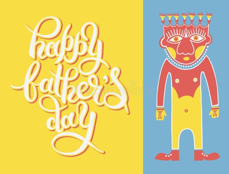 Calibre de carte de voeux pour le père Day avec l'inscri de lettrage de main illustration libre de droits