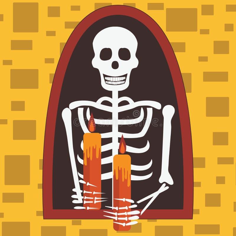 Calibre de carte de Halloween avec les bougies se tenantes squelettiques illustration stock