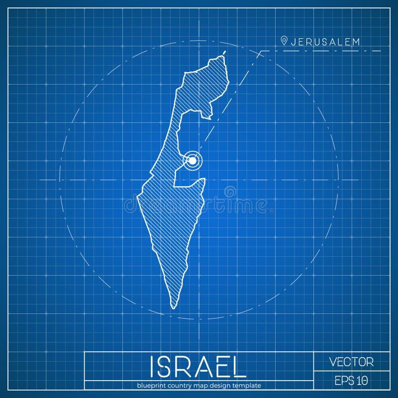 Calibre de carte de modèle de l'Israël avec la capitale illustration de vecteur