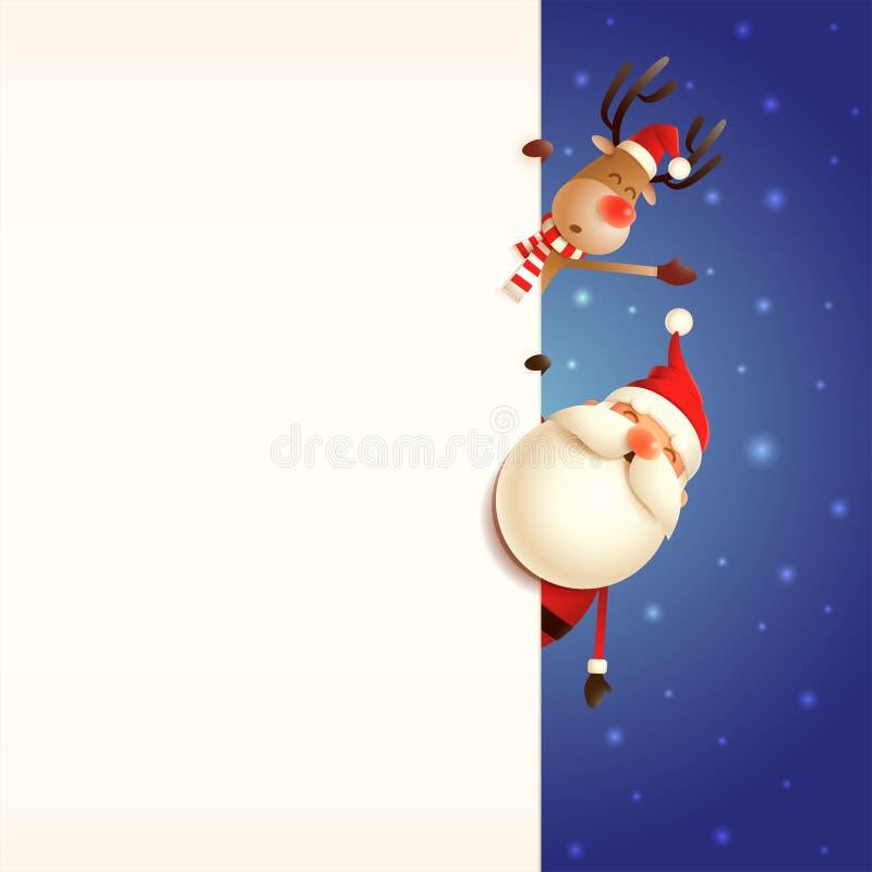 Calibre de carte de Noël avec Santa Claus et le renne jetant un coup d'oeil derrière le conseil sur le fond neigeux bleu illustration de vecteur