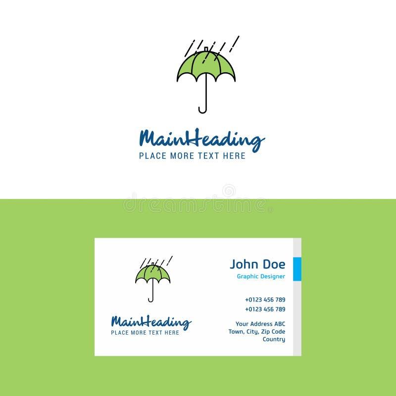 Calibre de carte pleuvoir et de logo et visiter plats de parapluie Concept Logo Design de Busienss illustration stock