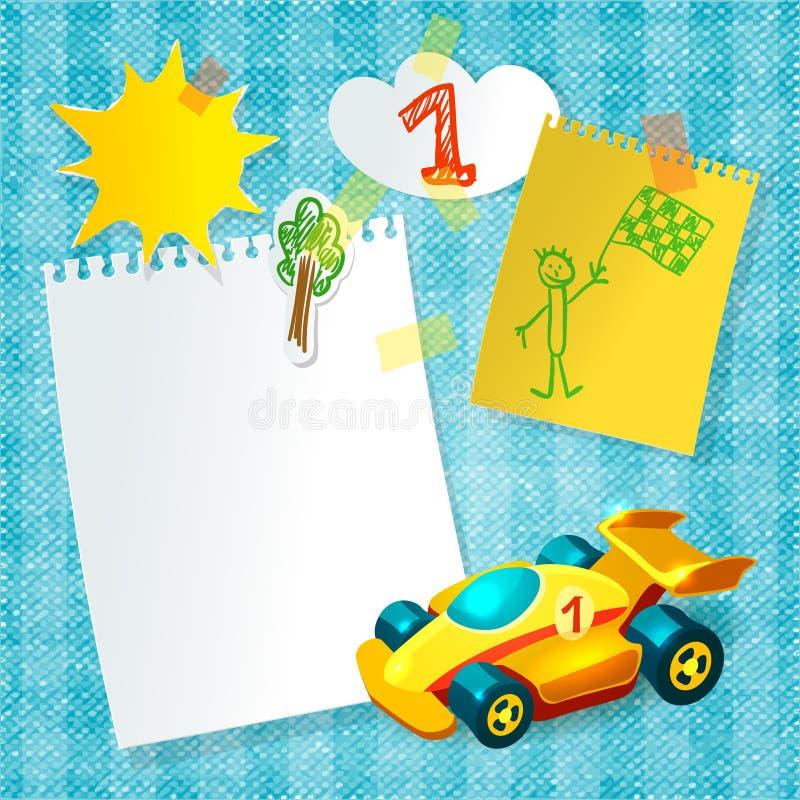 Calibre de carte postale de papier de voiture de course de jouet illustration stock