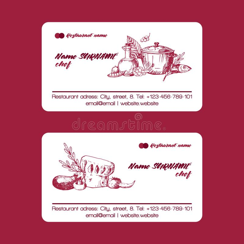 Calibre de carte de visite professionnelle de visite de chapeau de cuisinier de chef Cuisson du symbole du plat chaud dans le pot illustration stock