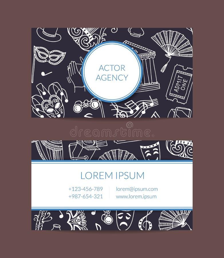 Calibre de carte de visite professionnelle de visite d'éléments de théâtre de griffonnage de vecteur illustration libre de droits
