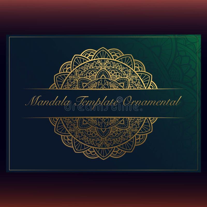 Calibre de carte de voeux avec les ornements circulaires de mandala illustration libre de droits