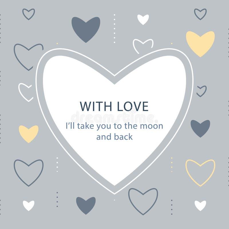 Calibre de carte de voeux, jour de valentines, fond subtil avec des coeurs, avec le texte, contexte romantique illustration stock
