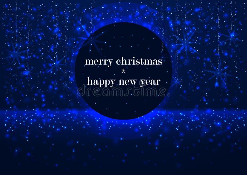 Calibre de carte de voeux, de Joyeux Noël et de bonne année, avec le cadre rond, fond bleu rougeoyant d'hiver de flocons de neige illustration de vecteur