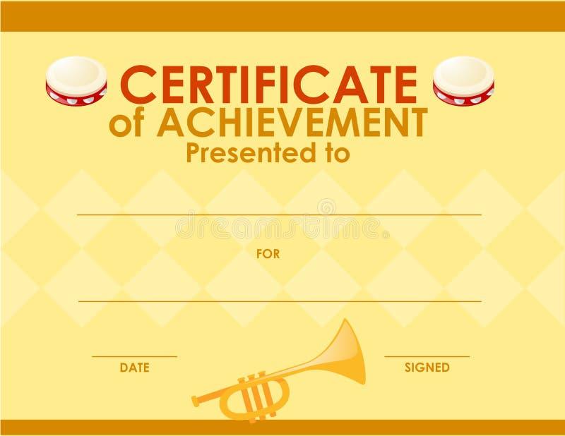 Calibre de certificat avec l'instrument de musique illustration de vecteur