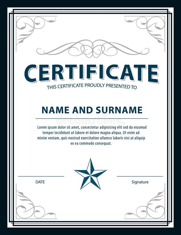 Calibre de certificat d'art déco de vintage, illustrati de vecteur illustration stock