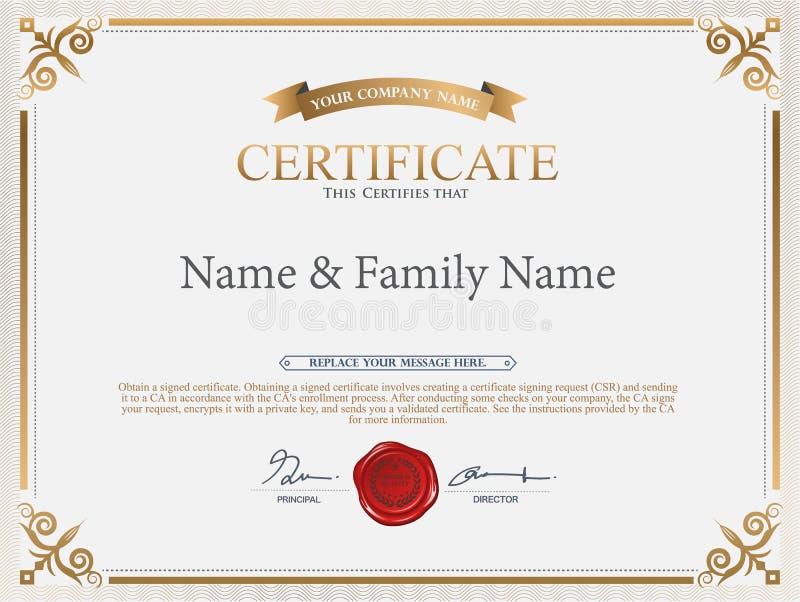 Calibre de certificat de vecteur illustration libre de droits