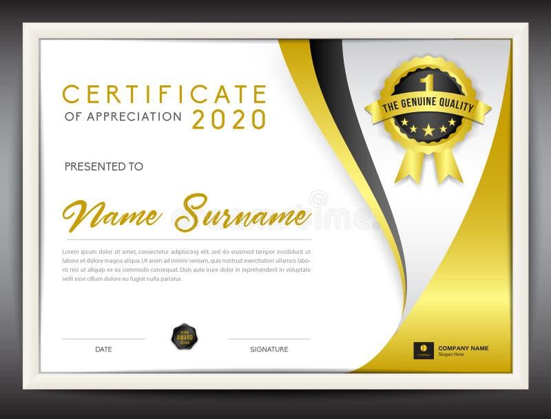 Calibre de certificat de vecteur, calibre d'insecte d'or illustration de vecteur