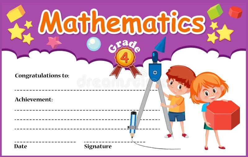 Calibre de certificat de diplôme de mathématiques illustration de vecteur