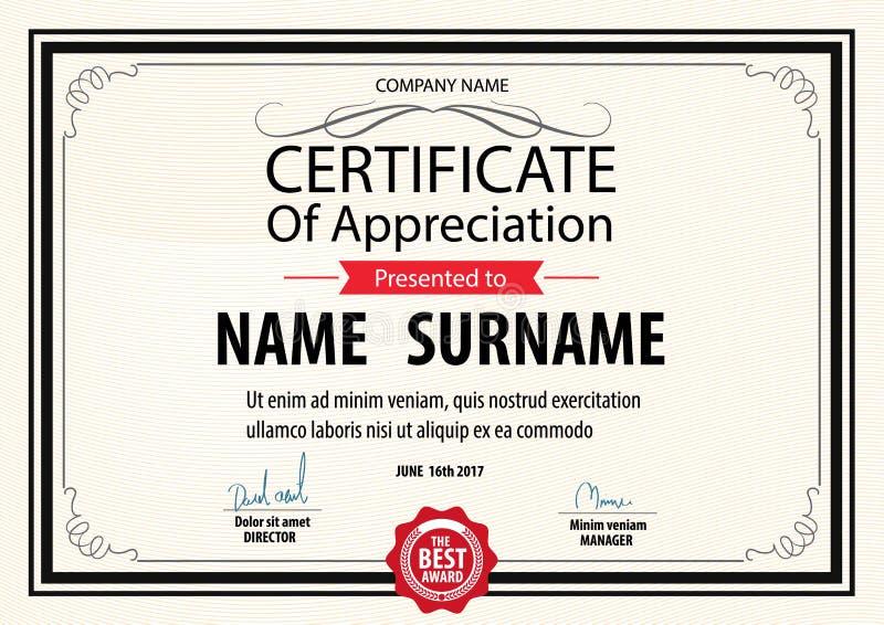 Calibre de certificat, illustration de vecteur illustration stock