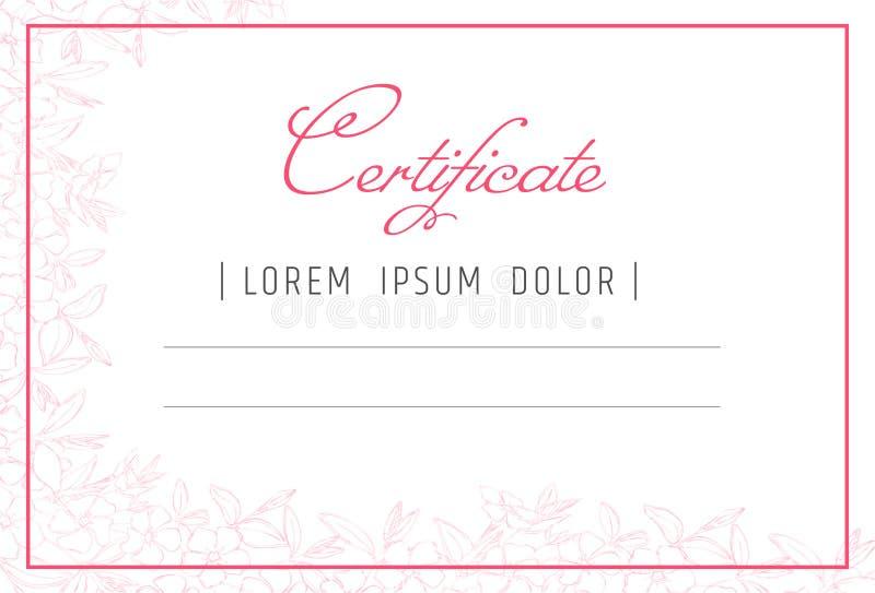 Calibre de certificat de maquillage cours d'école ou de perfectionnement de beauté pour l'esthéticien Composez le cosmétique ou l illustration stock