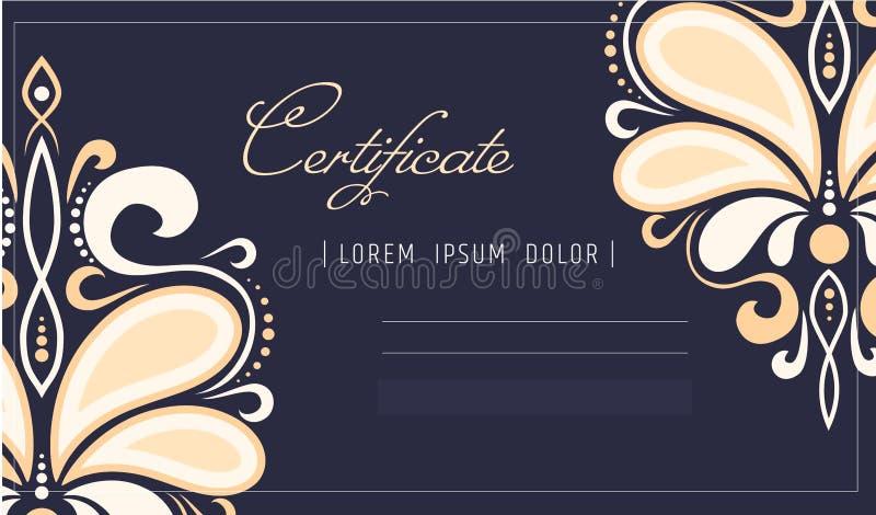 Calibre de certificat de maquillage cours d'école ou de perfectionnement de beauté pour l'esthéticien Composez le cosmétique ou l illustration de vecteur