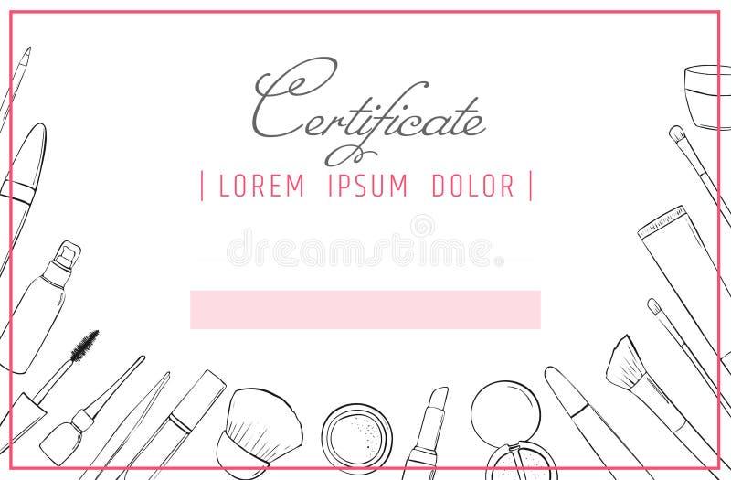Calibre de certificat de maquillage cours d'école ou de perfectionnement de beauté pour l'esthéticien Composez le diplôme cosméti illustration stock