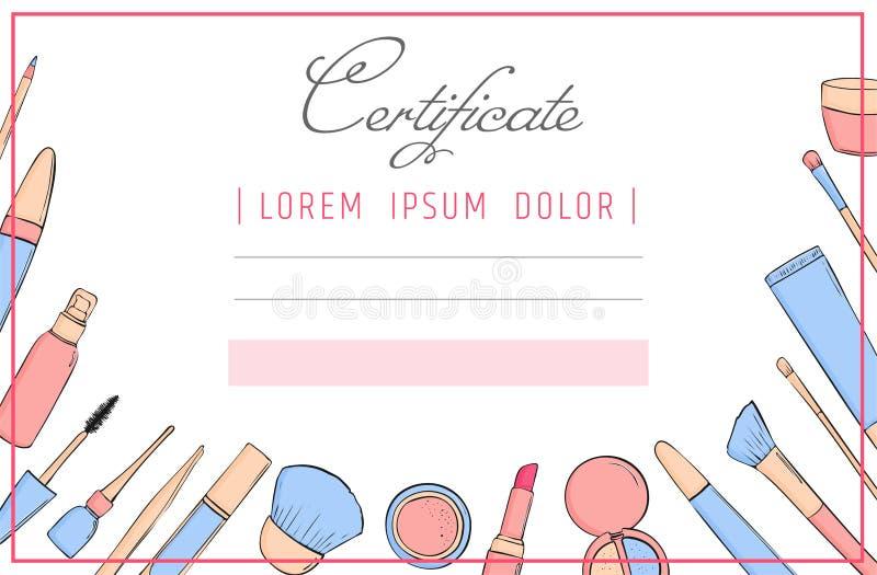 Calibre de certificat de maquillage cours d'école ou de perfectionnement de beauté pour l'esthéticien Composez le diplôme cosméti illustration libre de droits