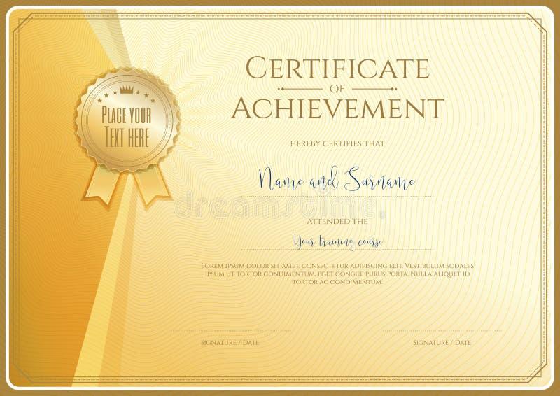 Calibre de certificat pour l'accomplissement, appréciation illustration libre de droits