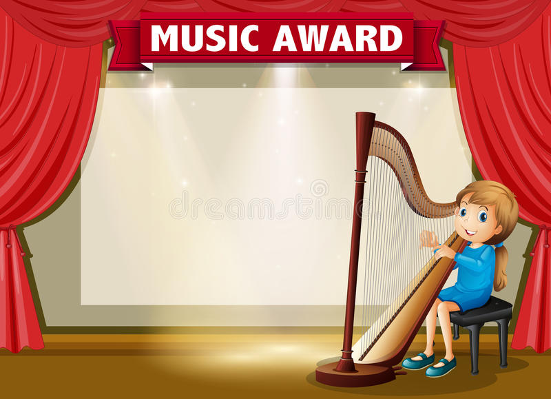 Calibre de certificat pour la récompense de musique illustration stock