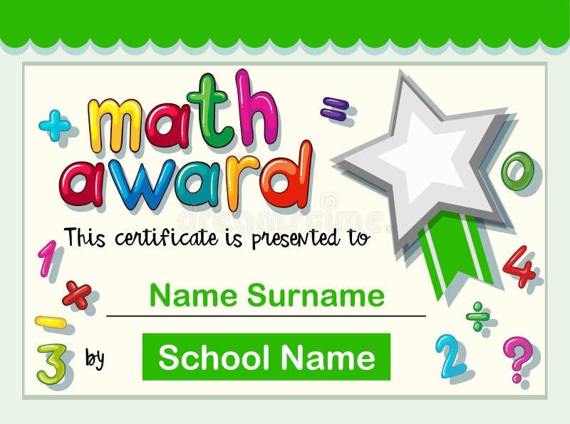 Calibre de certificat pour la récompense de maths illustration de vecteur