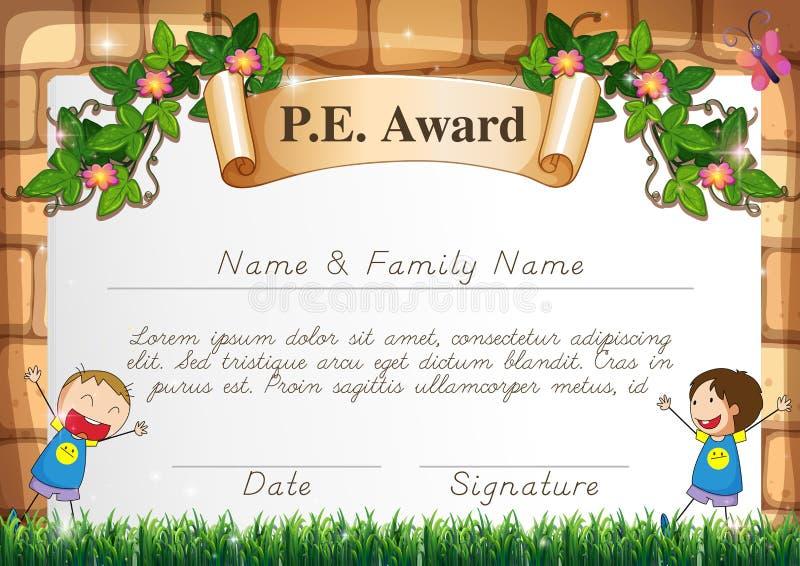Calibre de certification pour le sujet d'éducation physique illustration de vecteur