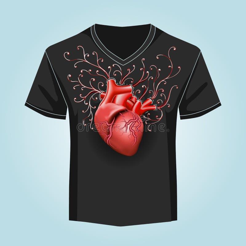 Calibre de chemise avec le modèle humain de coeur et de remous illustration libre de droits