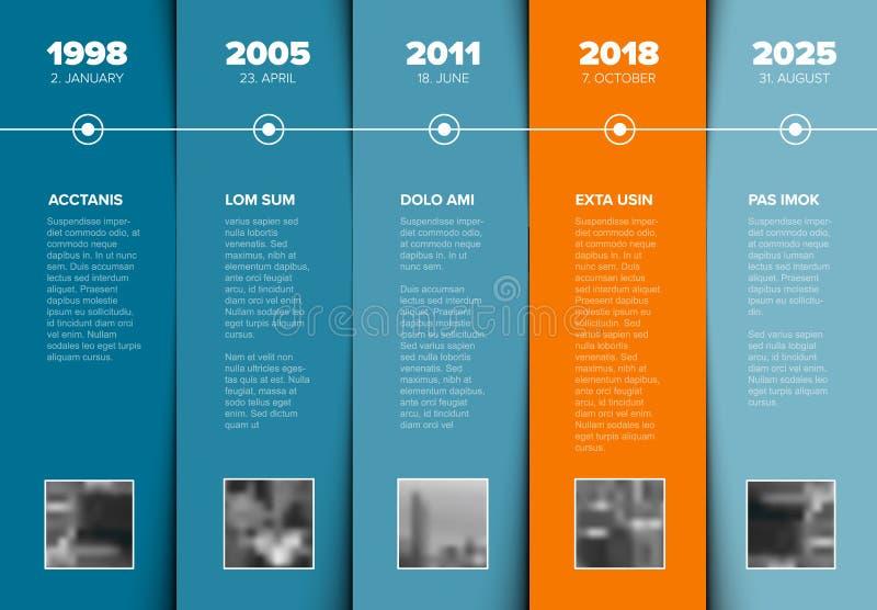 Calibre de chronologie avec des blocs de bleu et des textes d'attente de photo illustration libre de droits