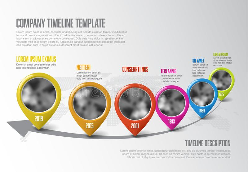 Calibre de chronologie d'Infographic avec des indicateurs illustration de vecteur