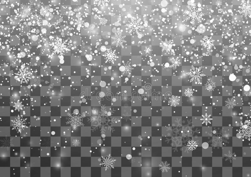 Calibre de chutes de neige de Noël Flocons de neige en baisse sur le fond transparent Fond de vacances de Noël Illustration de ve illustration stock