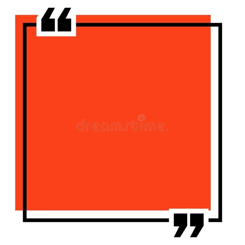 Calibre de citation Virgules, note, message et commentaire illustration de vecteur