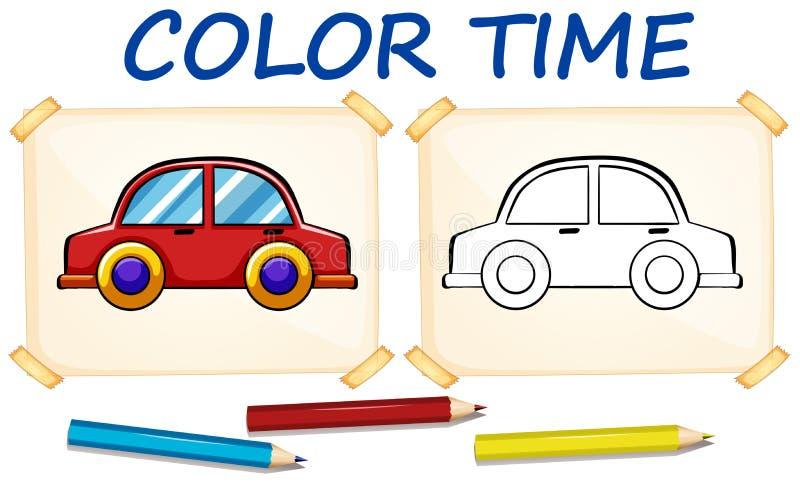 Calibre de coloration avec la voiture illustration de vecteur