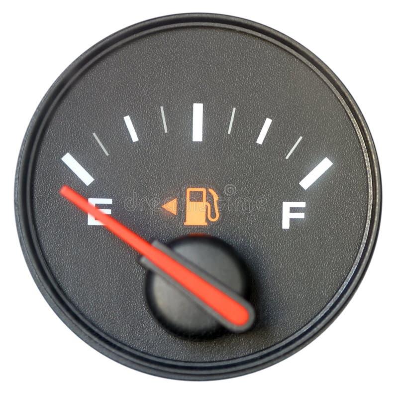 Calibre de combustível do veículo em vazio Isolado no branco imagem de stock royalty free