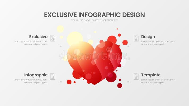 calibre de commercialisation d'illustration de vecteur de 4 d'option analytics de coeur Disposition de conception de données comm illustration libre de droits