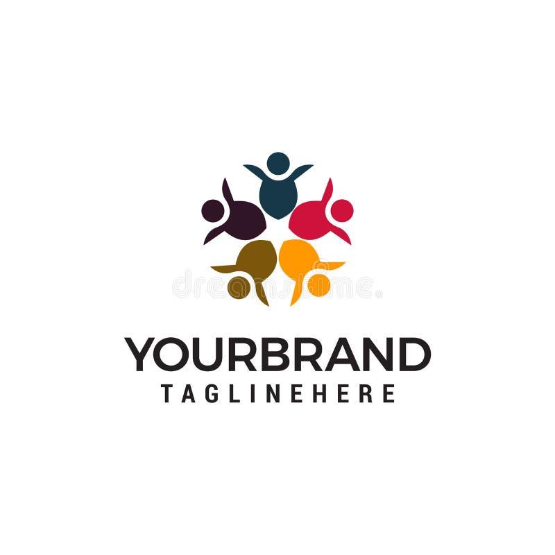 Calibre de concept de construction de logo d'alliance de personnes de la Communauté illustration stock