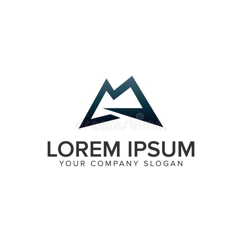 Calibre de concept de construction de logo du lettter M de montagne Enti?rement editable illustration de vecteur