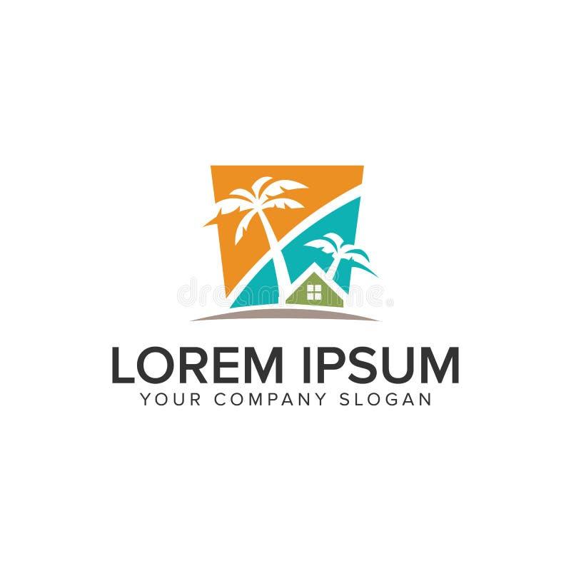 Calibre de concept de construction de logo de maison de palmier illustration libre de droits