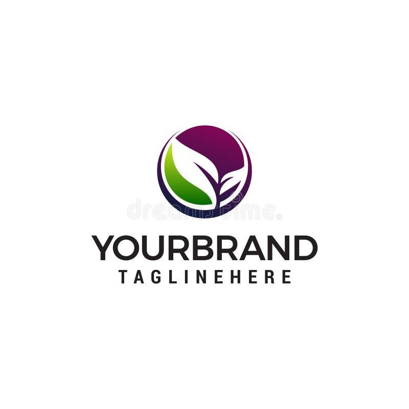 Calibre de concept de construction de logo de nature de feuille illustration stock