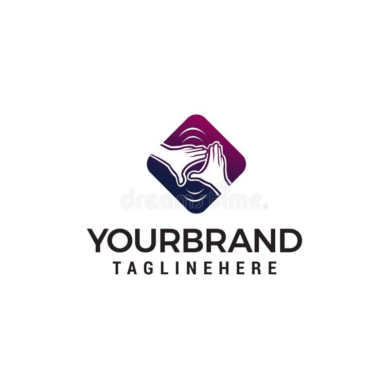 Calibre de concept de construction de logo de soin de main illustration stock