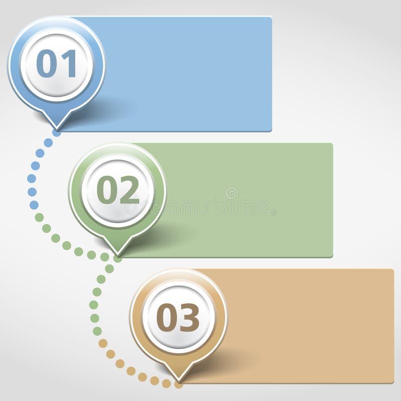 Calibre de conception avec trois bannières illustration stock
