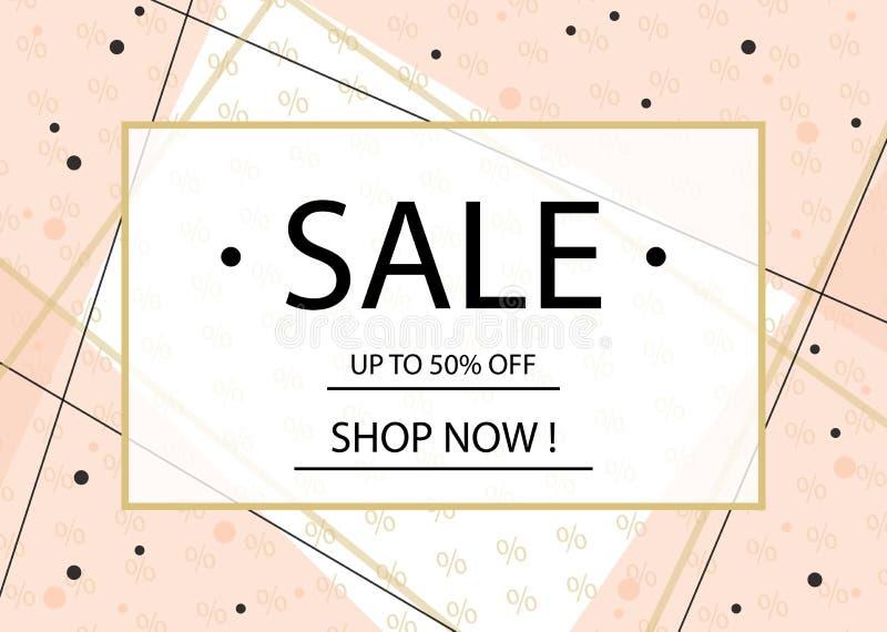Calibre de conception de bannière, d'insecte ou d'affiche de vente avec le lettrage Cadre d'or sur un fond rose Vecteur Eps10 illustration stock