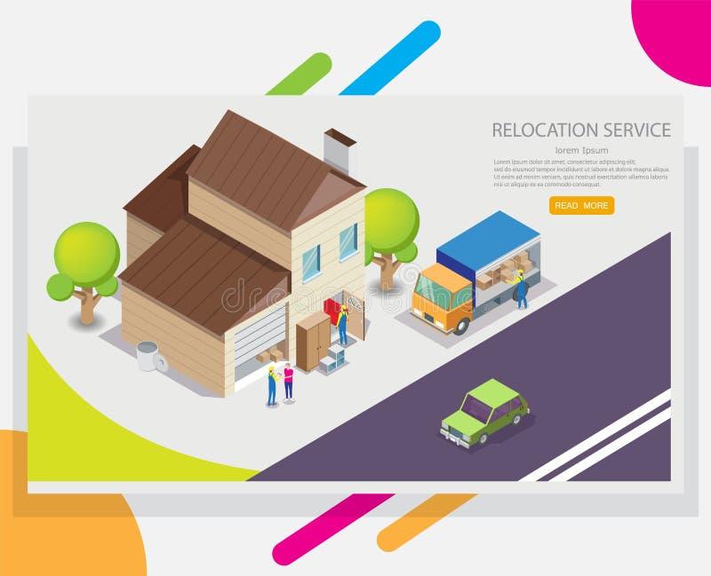 Calibre de conception de bannière de Web de vecteur de service de relocalisation illustration stock