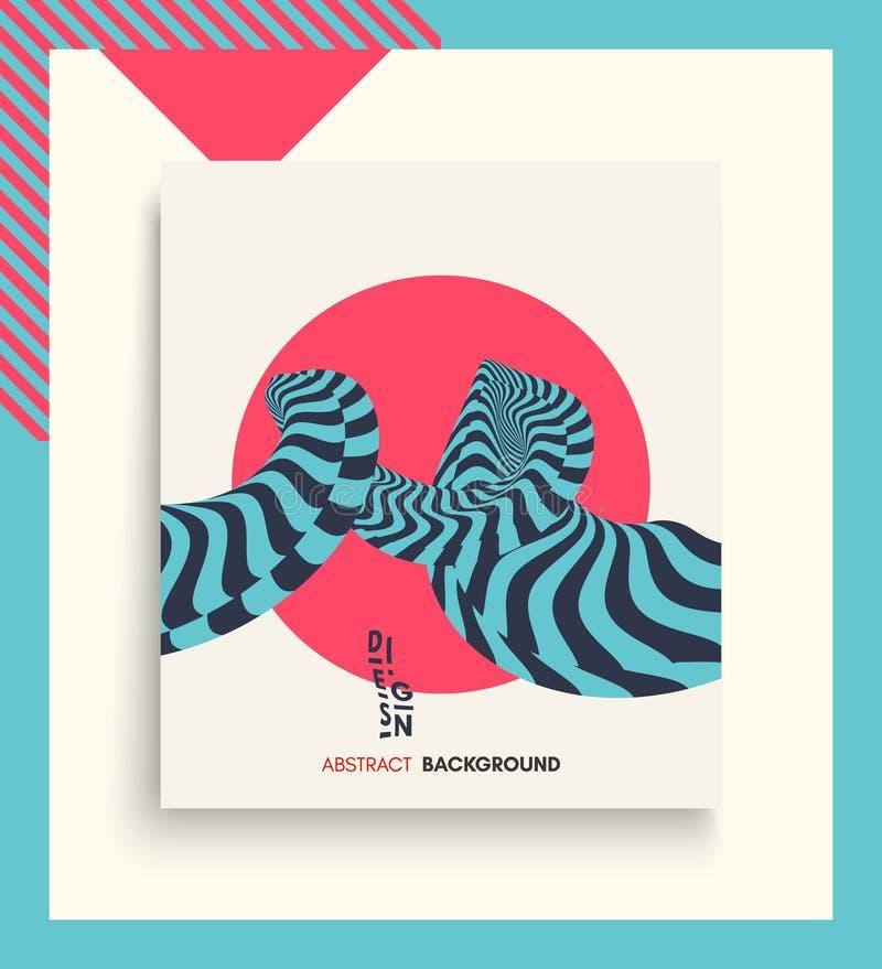 Calibre de conception de couverture Configuration avec l'illusion optique Fond 3d géométrique abstrait Illustration asiatique de  illustration stock