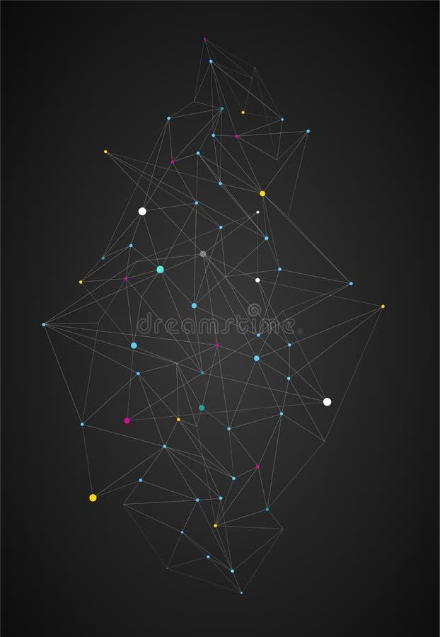 Calibre de conception de couverture de livre avec les objets polygonaux abstraits illustration stock