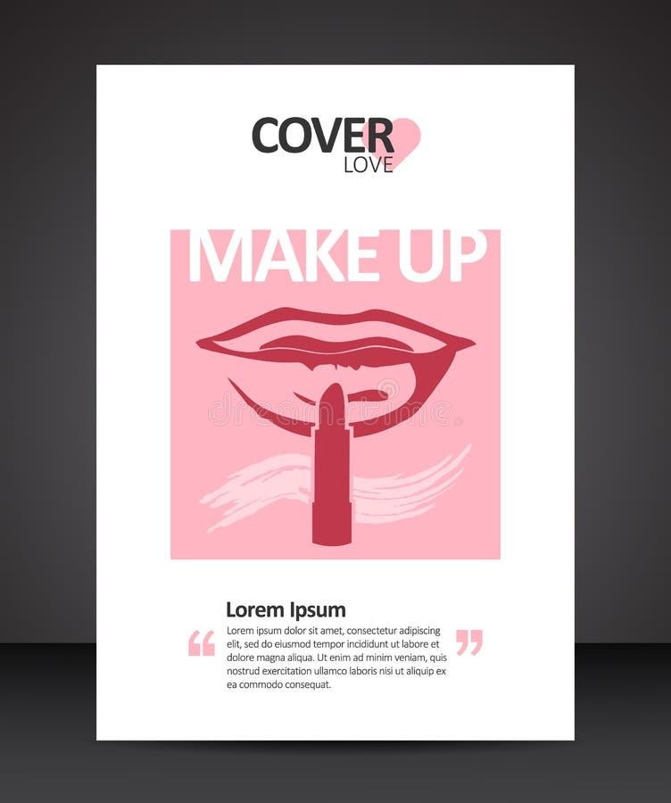 Calibre de conception de couverture de maquillage avec les lèvres et le doigt rouges illustration de vecteur