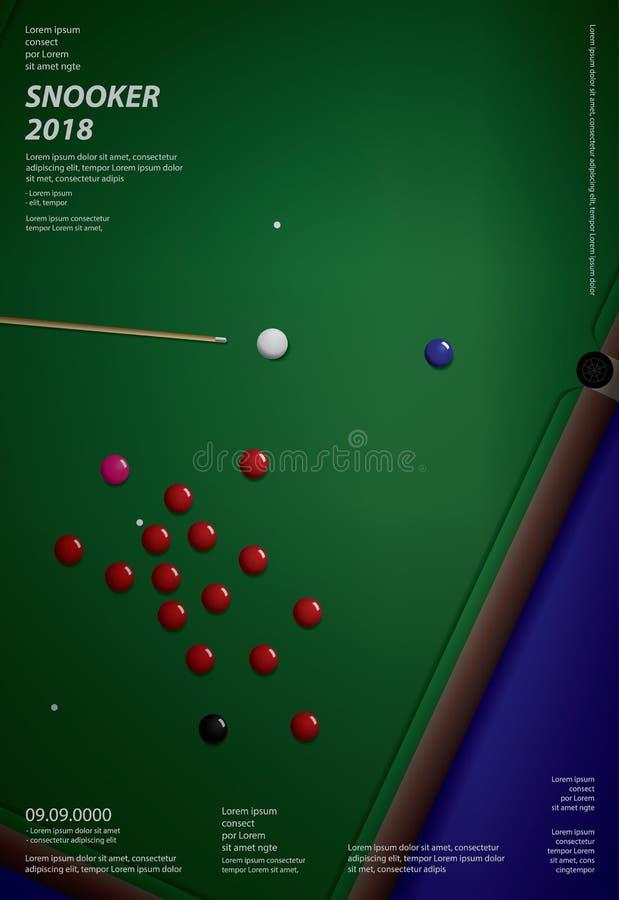 Calibre de conception d'affiche de championnat de billard illustration de vecteur