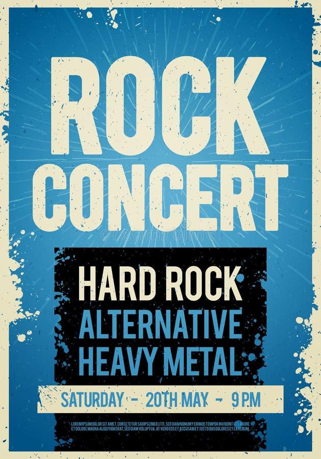 Calibre de conception d'affiche de concert de rock d'illustration de vecteur rétro sur la vieille texture de papier illustration de vecteur
